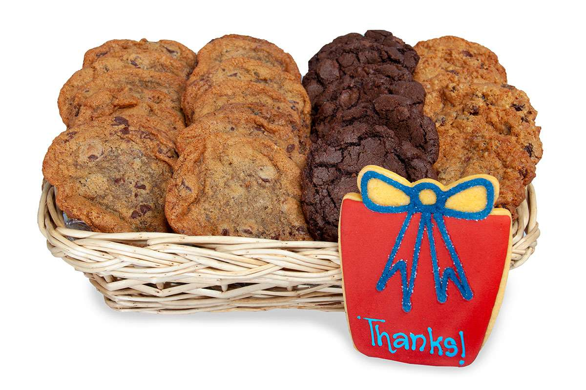 Send a red thanks cookie gift basket delivery to show your gratitude