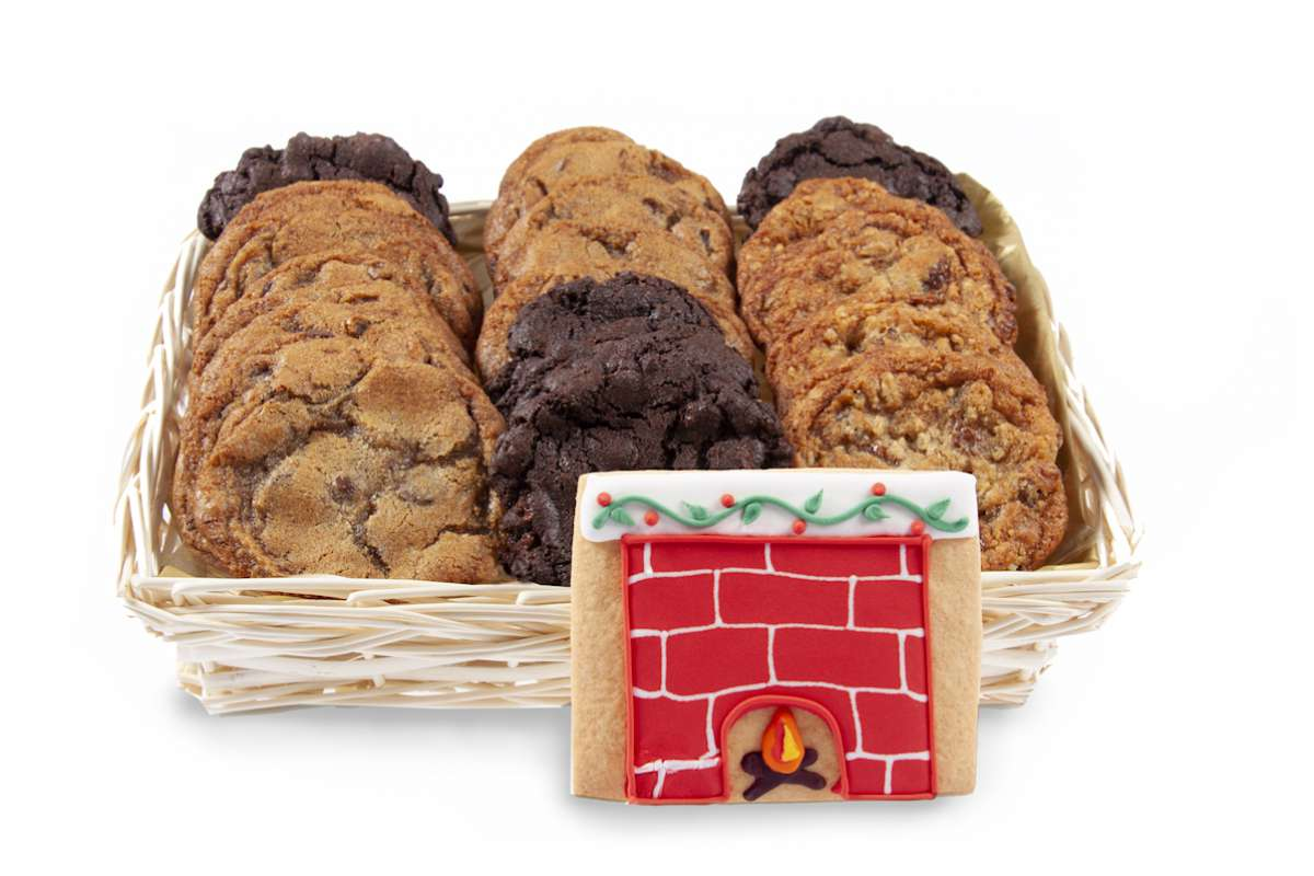 Fireplace Basket With Our Gourmet Cookies